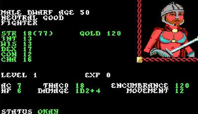 AD&D Pools of Radiance screen shot